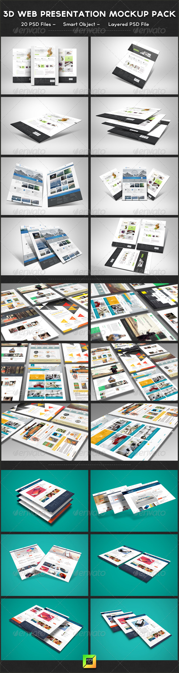 GraphicRiver 3D Web Presentation Mockup Bundle 6216722