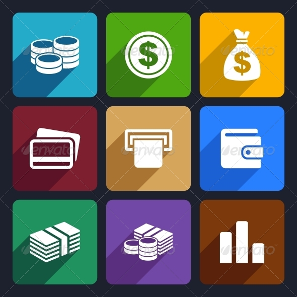 GraphicRiver Money Flat Icon Set 14 6217073