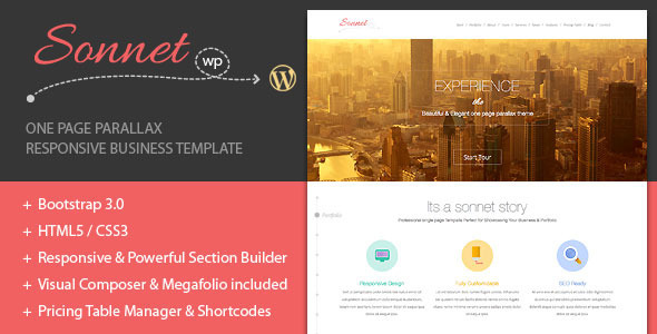 ThemeForest Sonnet One Page Parallax Multipurpose Portfolio 6171819