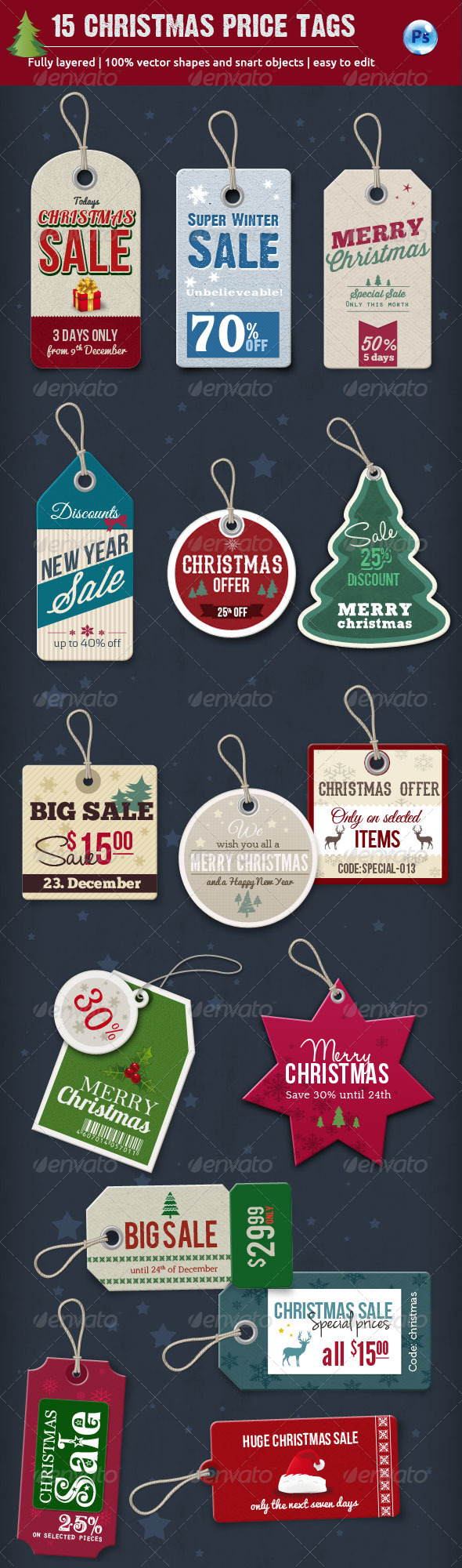 GraphicRiver 15 Christmas Price Tags 6217883