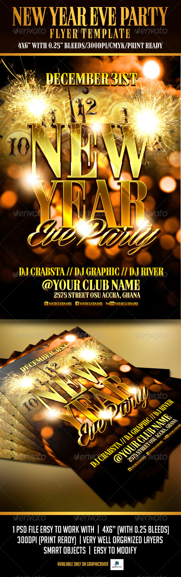 GraphicRiver New Year Eve Party Flyer Template 6218152