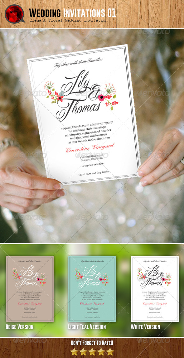 GraphicRiver Elegant Floral Wedding Invitation 01 6218337