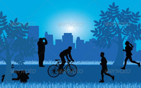 GraphicRiver Silhouette Park 6218423