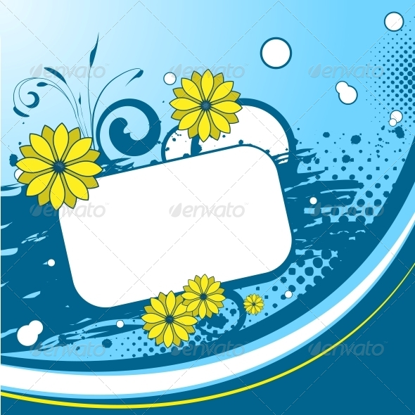 GraphicRiver Blue Floral Background 6218615