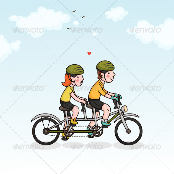 GraphicRiver Couple Cycling 6218711