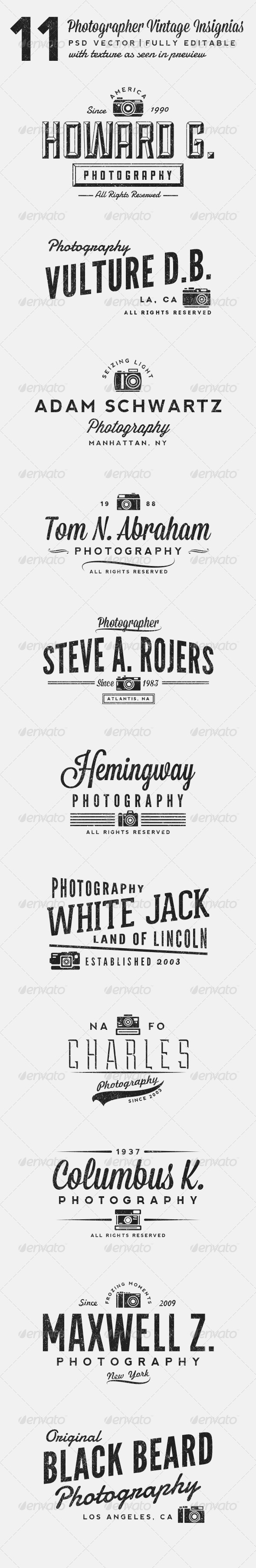 GraphicRiver 11 Photographer Vintage Insignias 6219869