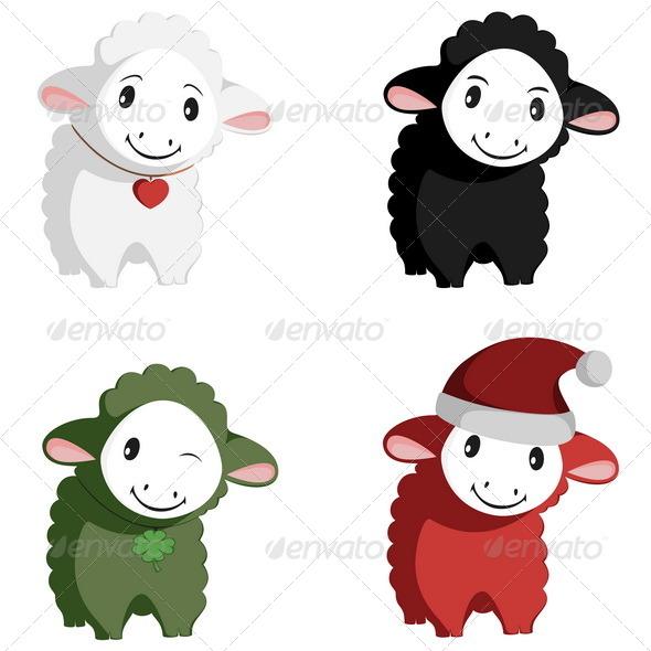 GraphicRiver Happy Sheep Mascots 6220162