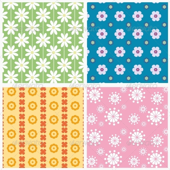 GraphicRiver Patterns with Flowers 6220325