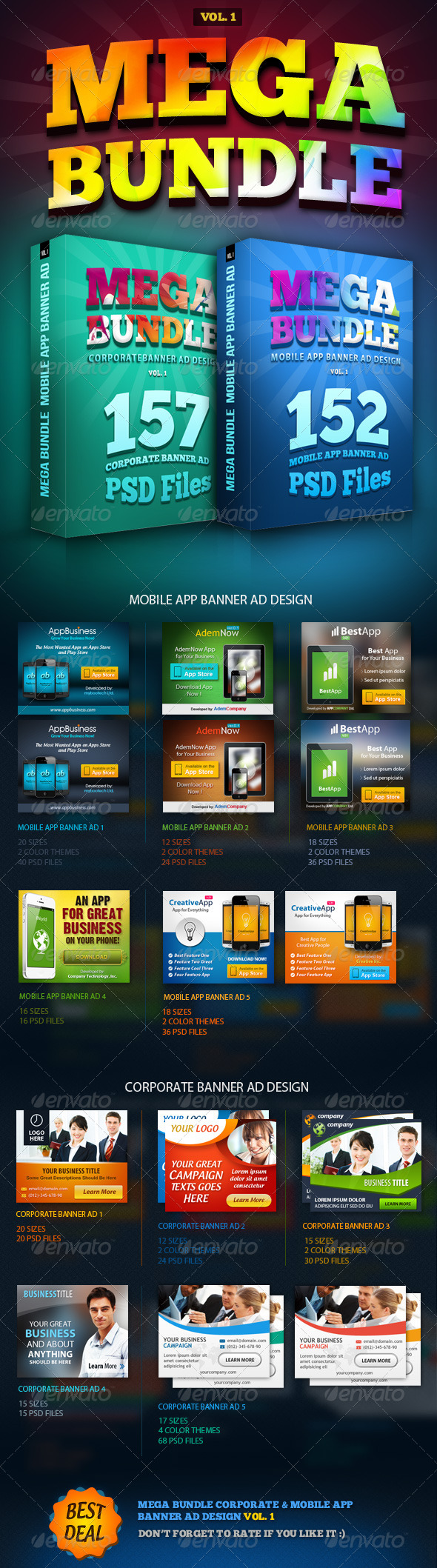 GraphicRiver MEGA BUNDLE Vol.1 Corporate & Mobile App Banner Ad 6187403