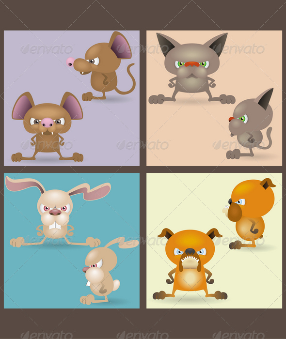 Angry domestic animals set (front and sideview)