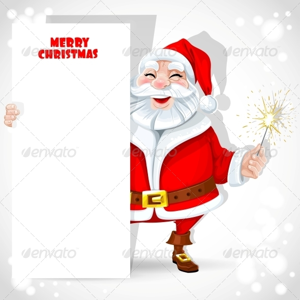 GraphicRiver Santa Claus holding Banner and Sparkler 6221110