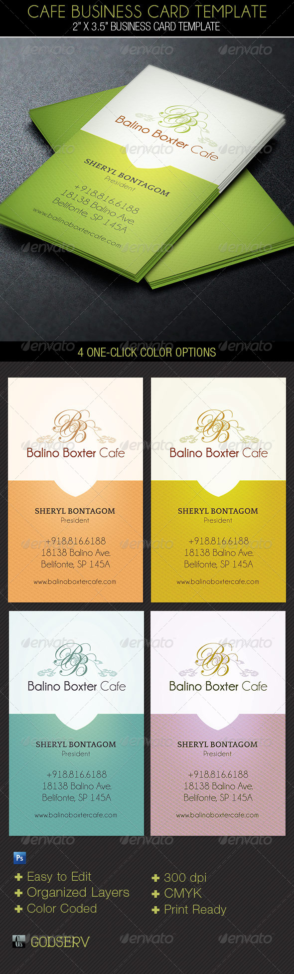 GraphicRiver Cafe Business Card Template 6221123