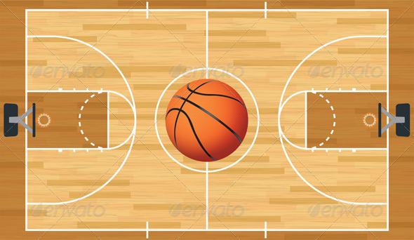 GraphicRiver Realistic Vector Basketball Court and Ball 6221232