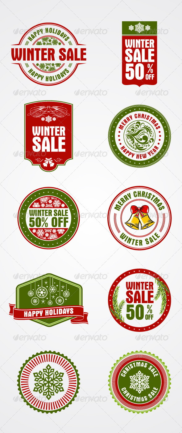 GraphicRiver 10 Christmas Holiday Themed Stamps Badges 6221291