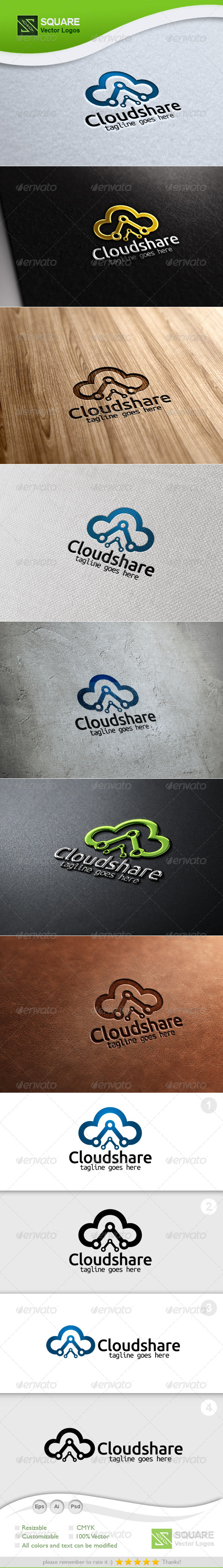 GraphicRiver Cloud Share Vector Logo Template 6221863