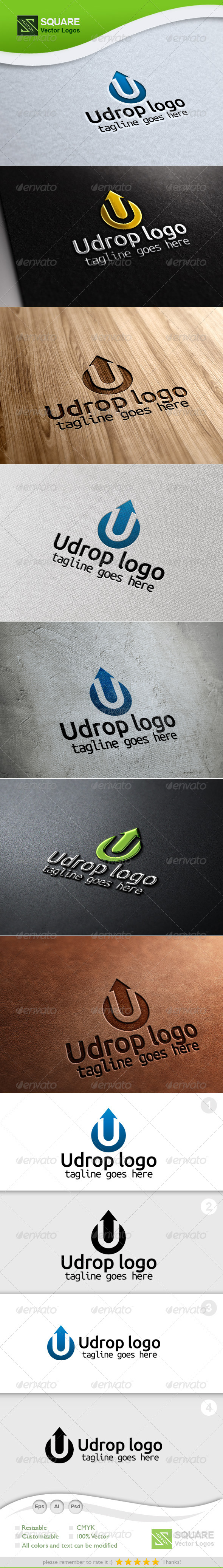 U, Drop Vector Logo Template - Letters Logo Templates