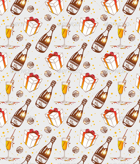 GraphicRiver Seamless Pattern with Champagne 6222123