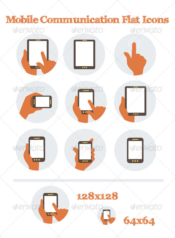 GraphicRiver Mobile Communication Flat Icons 6222385