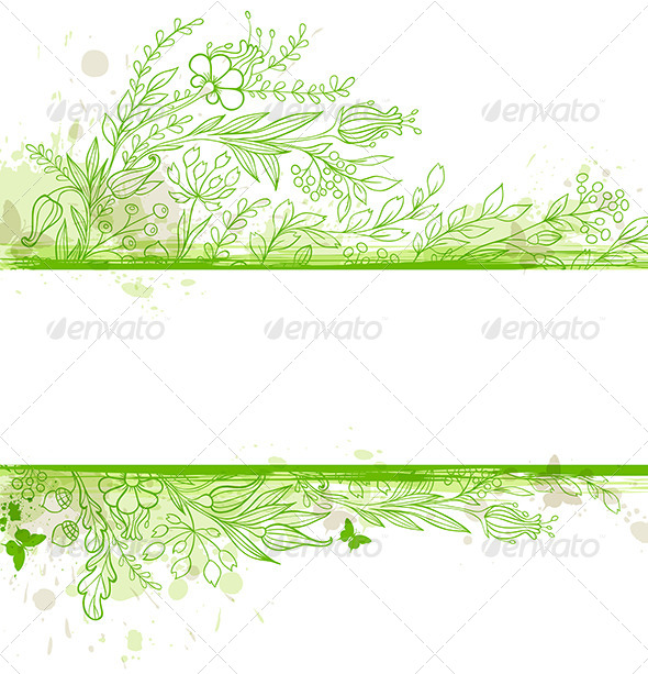 GraphicRiver Green Banner with Flowers and Leaves 6222395