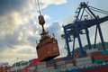 loading of containers at the port terminal of Hong Kong - PhotoDune Item for Sale