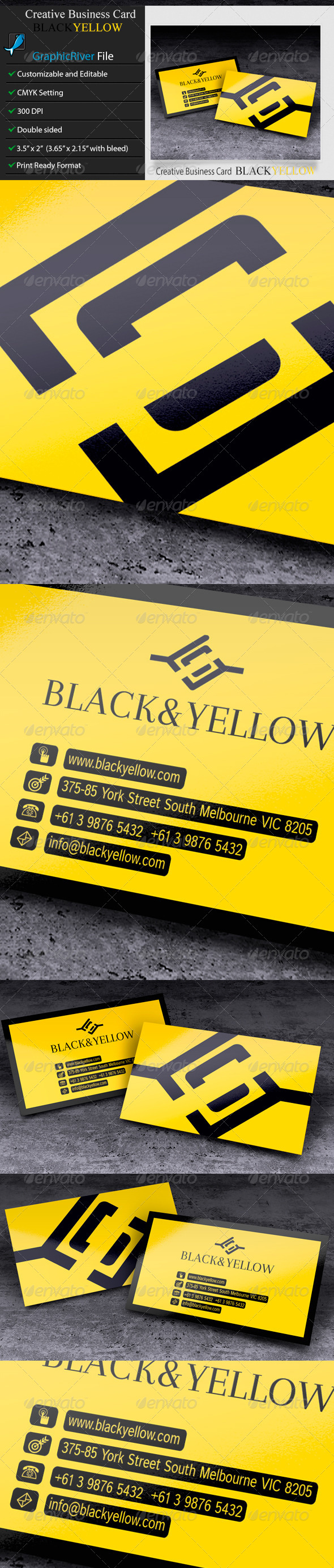 GraphicRiver Creative or Corporate Business Card BlackYellow 6223046
