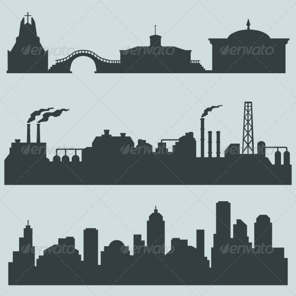 GraphicRiver Set of City Silhouettes 6224953