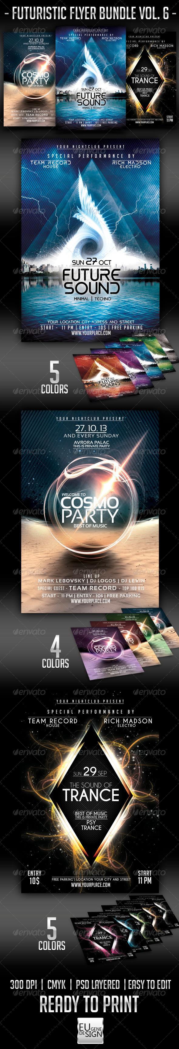 Futuristic Flyer Bundle Vol. 6 - Clubs & Parties Events