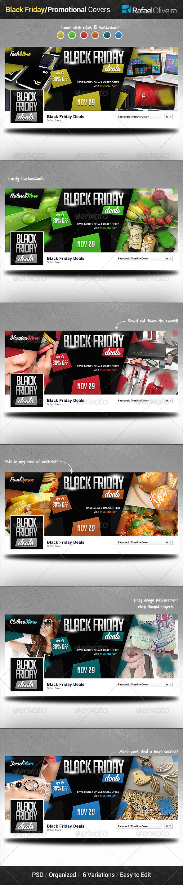 GraphicRiver Black Friday Promotional Facebook Covers 6227153