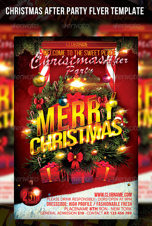 Christmas After Party Flyer Template - Events Flyers