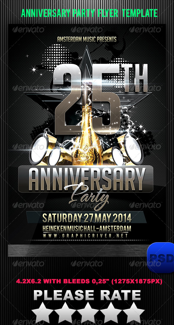 GraphicRiver Anniversary Party Flyer Template 6228278