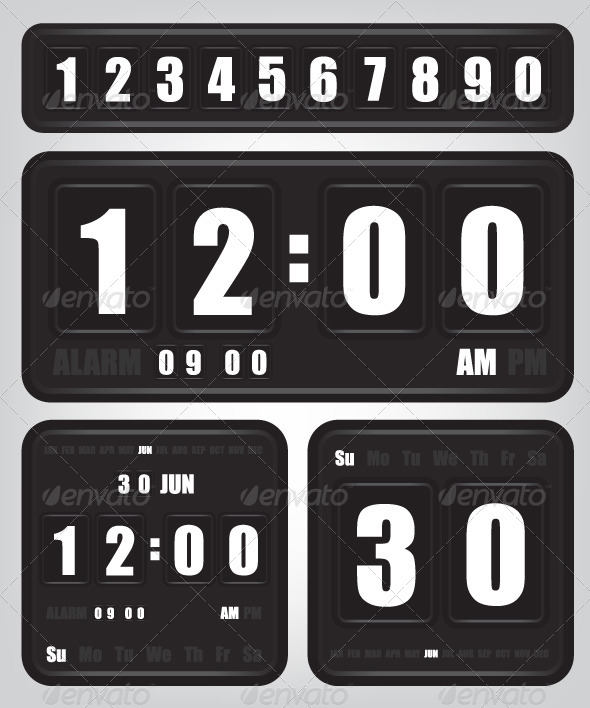 GraphicRiver Digital Retro Clock and Calendar 6228653