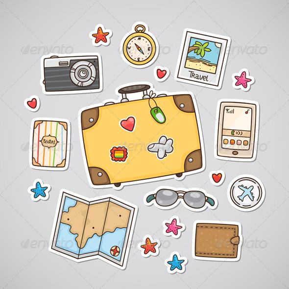 GraphicRiver Travel Stickers 6230115