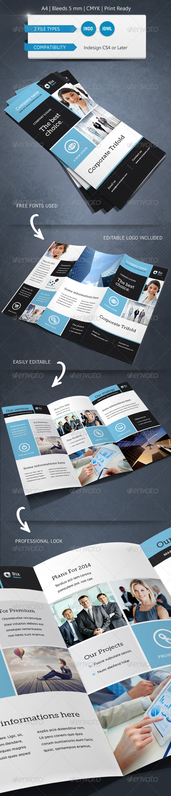 GraphicRiver Modern & Corporate Trifold Brochure Template A4 6230771