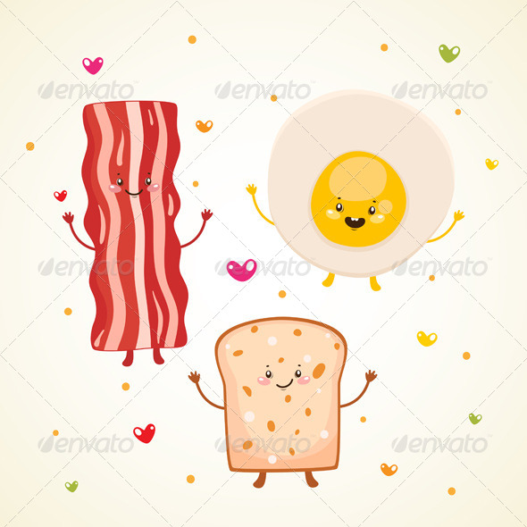 GraphicRiver Breakfast Bacon Fried Egg Toast 6230850