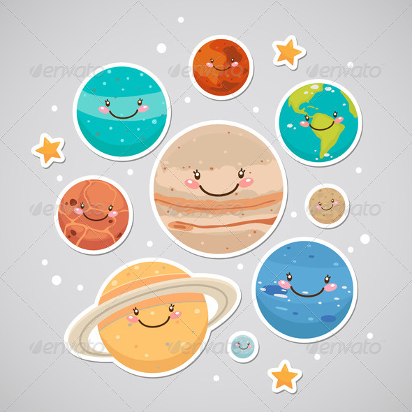 GraphicRiver Planet Stickers 6230915