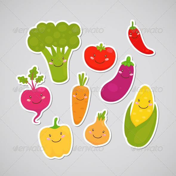 GraphicRiver Vegetable Stickers 6230918