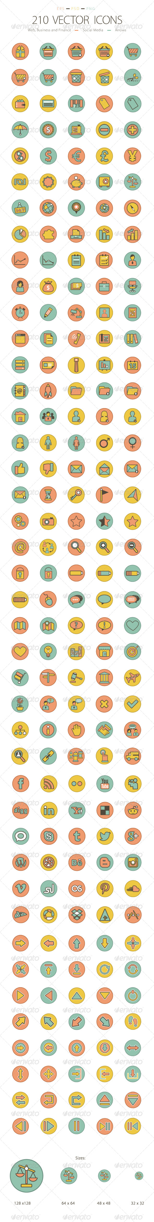 GraphicRiver Set of 210 Icons 6231606
