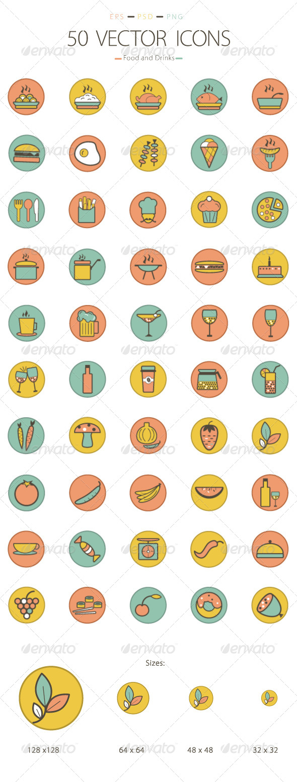 GraphicRiver Set of 50 Food and Drinks Icons 6231694