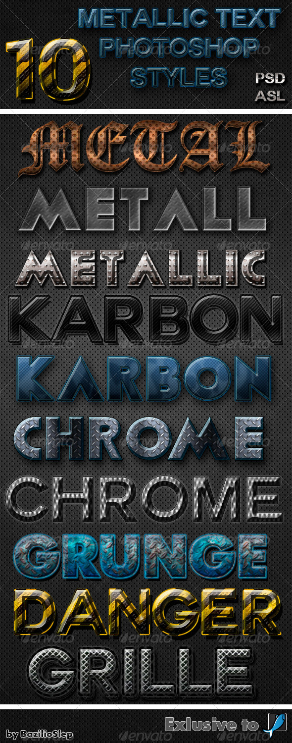 GraphicRiver 10 Metallic Photoshop Text Styles 6231766