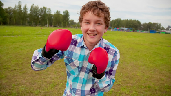 The Boy in Boxing Gloves in a Meadow