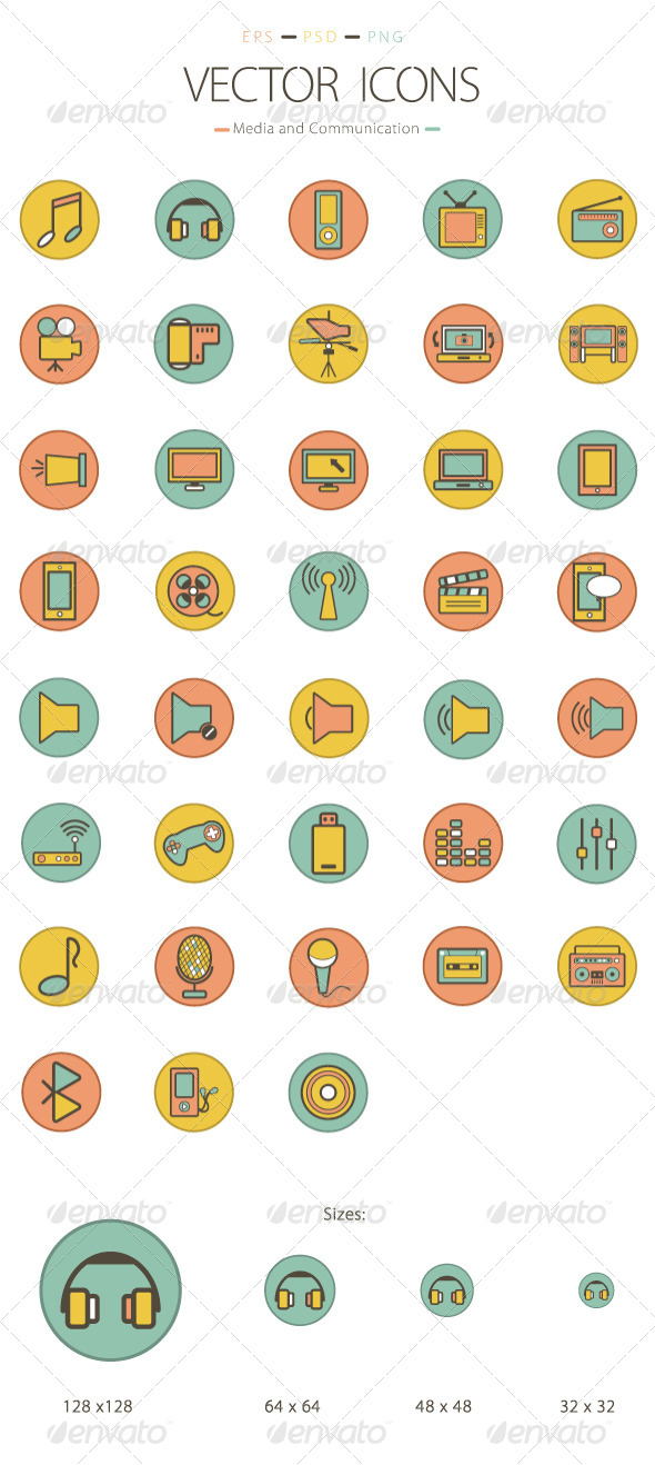 GraphicRiver Set of 38 Media and Communication Icons 6231800