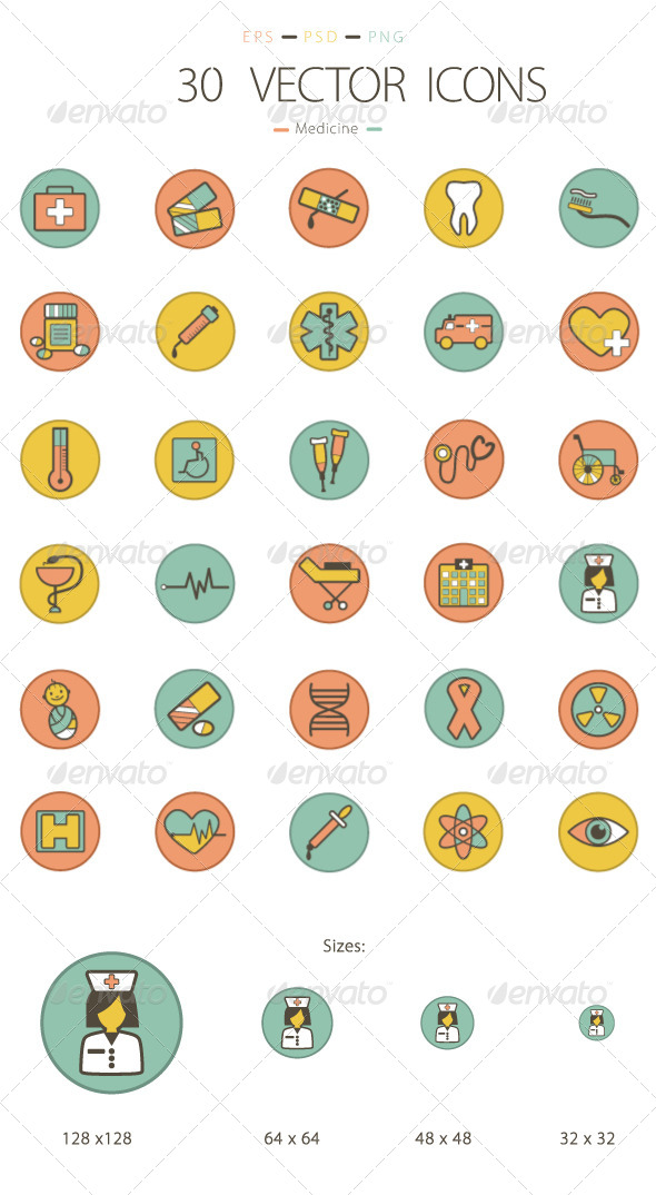GraphicRiver Set of 30 Medicine Icons 6231804