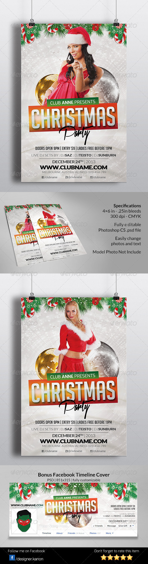 GraphicRiver Christmas Event Flyer & Facebook Cover 6232377