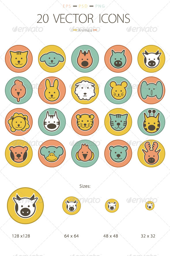GraphicRiver Set of 20 Animals Icons 6232391