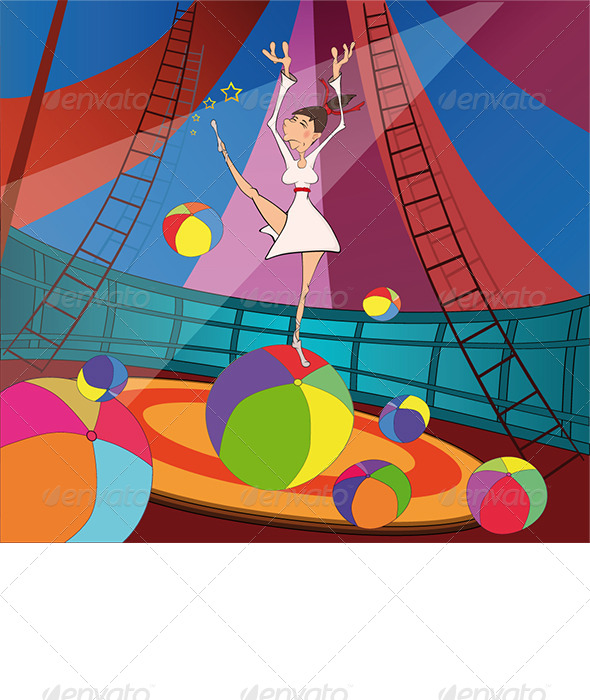 GraphicRiver The Gymnast and Circus Cartoon 6232425