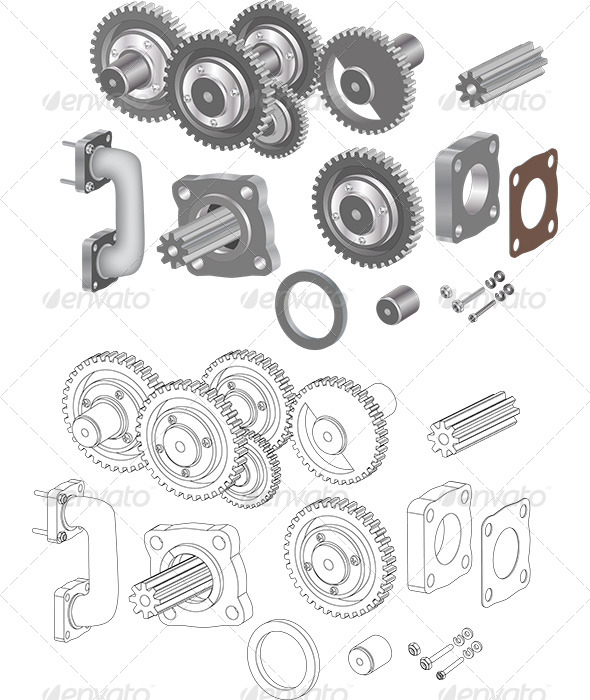 GraphicRiver The Complete Set Mechanisms and Gears 6232445