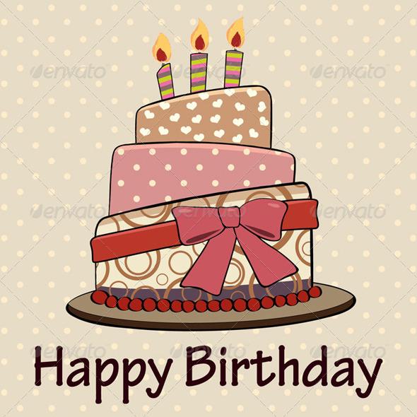 GraphicRiver Vintage Happy Birthday Cake Card 6232688