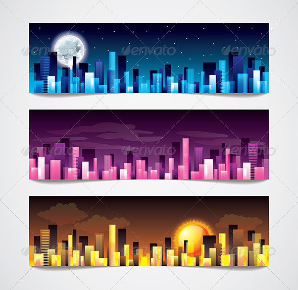 GraphicRiver City Skylines Vector Banners 6232695