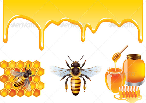 GraphicRiver Bee Vector Set 6232696