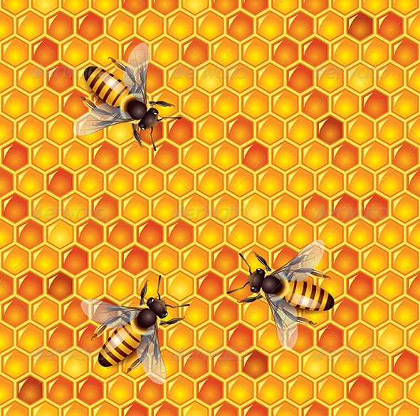 GraphicRiver Bees and Honeycells Seamless Background 6232697